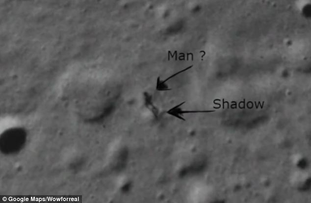 An irregularly shaped dark spot he noticed on Google Moon looks like it could be a cast shadow from a massive standing object, or figure.