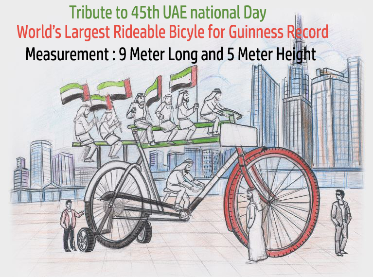 Drawing of our Project 'Largest Rideable Bicycle' 9 Meter Long 5 Meter Height